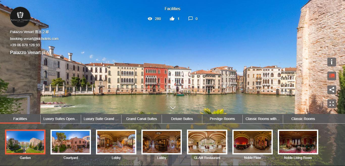 Discover all the spaces of our 15th century palazzo with 360° visualizations.